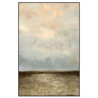 Large vertical artwork with pastel clouds. Blue-grey, peachy clouds, with murky water below.