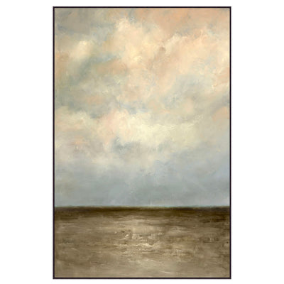 Large vertical artwork with blue-grey and a touch of peachy clouds, and murky grey waters.