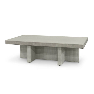 The Hanover Outdoor Coffee Table is a grey, cement statement coffee table with an industrial feel.