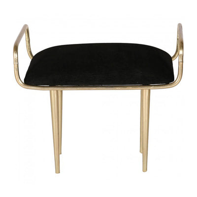 The Queenstown Stool with a brass finish and black fabric for a sophisticated look.