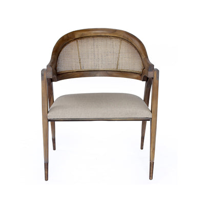 Vintage looking rustic wooden chair with linen upholstered cushion.