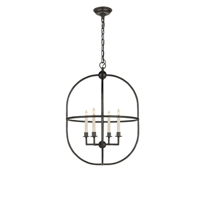 The Desmond Open Oval Lantern has a double, oval frame and chain attachment in an aged iron finish and a four candle, candelabra light.