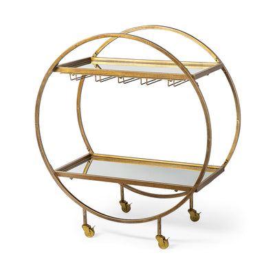 Circular antique brass rolling bar cart with mirror shelving.