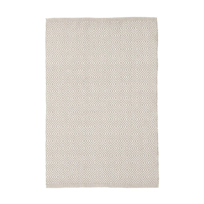 Beige diamond textured indoor outdoor rug. Durable, washable, and bleachable.