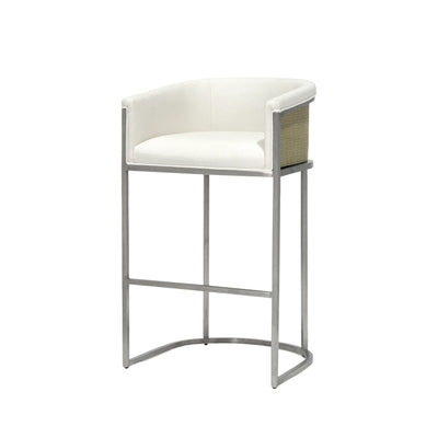 The Rotorua Bar Stool has brushed stainless steel legs, fixed upholstered seat and inside backrest and cane matting detail.