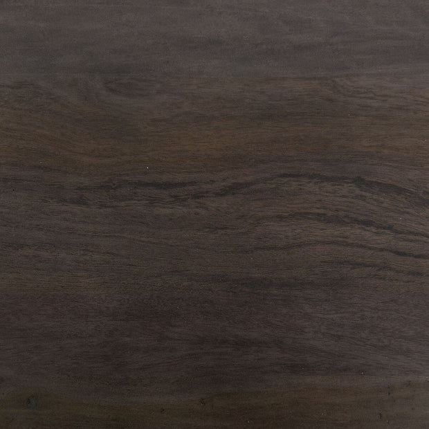 Coal grey acacia wood grain detail.