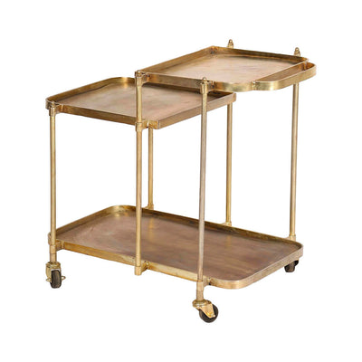 Vintage inspired, two-tier bar cart with wheels in an antique brass finish.