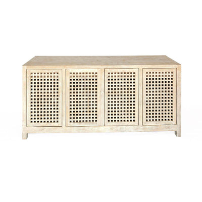 The Grand Bend Credenza is made of solid mango wood with a sun-bleached look, lattice doors, adjustable shelves and interior drawers.