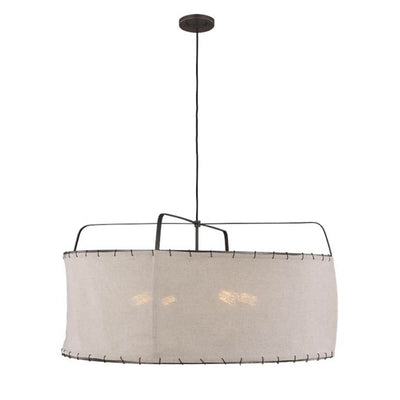 Mina Pendant Medium. A nomadic looking kitchen pendant with a metal body, natural linen shade, and over-stitching details.