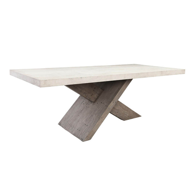 Modern dining room table with oversized cross beam base and concrete laminate tabletop.