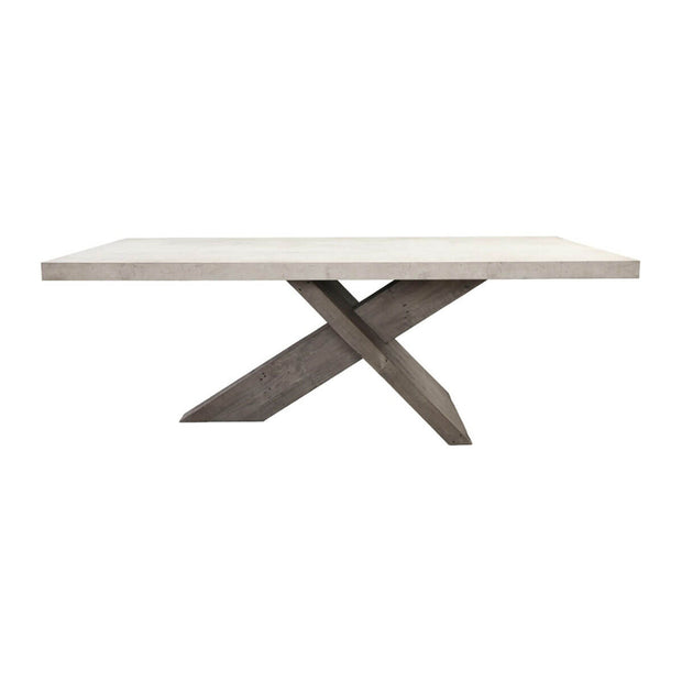 The Honey Brook Dining Table has a lightweight, durable concrete laminate tabletop and oversized reclaimed pine crossbeam base.