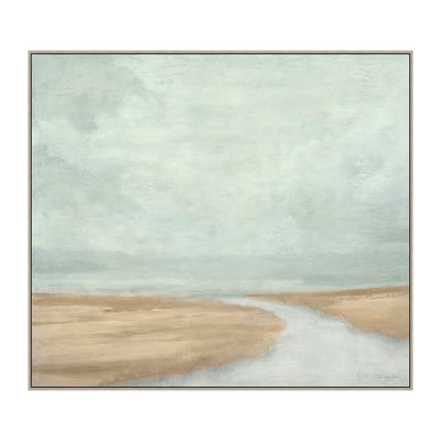 A neutral toned blue and beige painting of a cove.