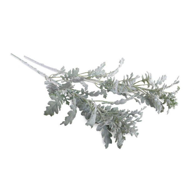 The Dusty Miller Spray has a unique powdery finished foliage and has a semi-poseable stem.