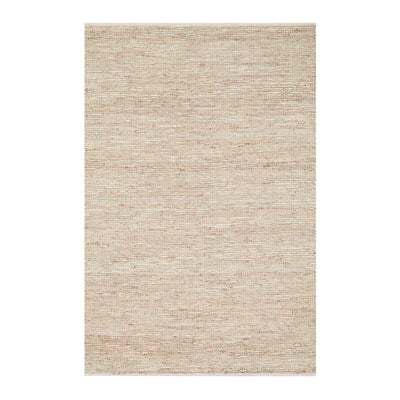 The Marseille Ivory Rug is handwoven with leather and jute in a neutral colour with an earthy, textured look.