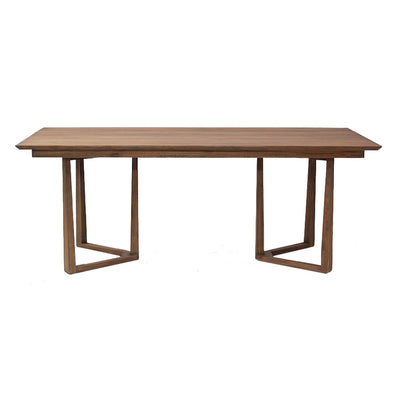 Solid teak wood table in a brown finish on angled legs.
