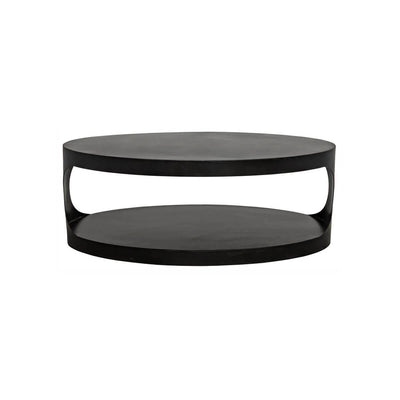 Black metal coffee table with a simple oval shape and an industrial feel.