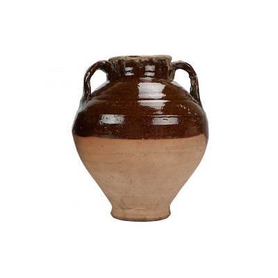Large Vintage Egyptian pot with brown drip glaze. Vessel shaped pot with handles.
