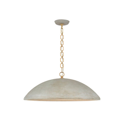 Subtle, distressed gilded pendant for a dining room table.