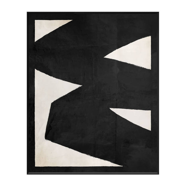 The Ellsworth Inspired Series V is an abstract, black and white painting with a black frame.