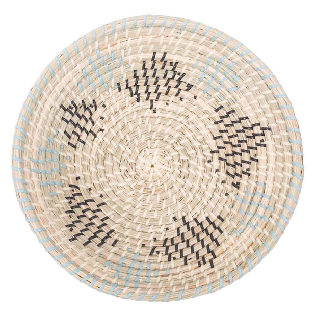 Blue and charcoal woven seagrass decorative basket.