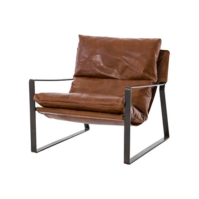 The Waycross Sling Chair has a modern tobacco leather sling-back seat and gunmetal-finish frame.