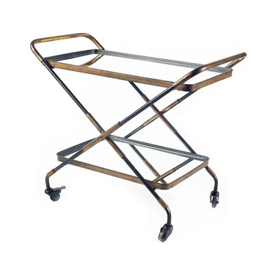 Black and gold metal rolling bar cart with mirrored shelves.