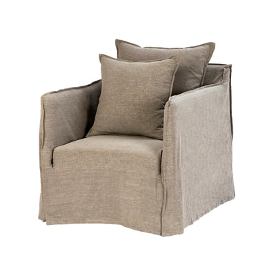 This comfortable arm chair has a frame made of birch with a grey linen slipcover and two comfortable cushions.