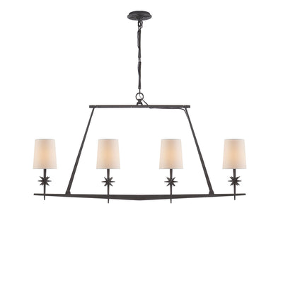 The Etoile Linear Chandelier has a black linear frame with four small lights with natural paper shades and small star detail.