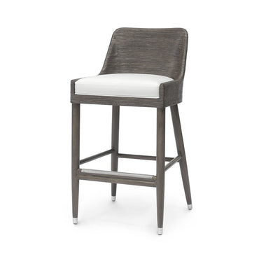 The Brookings Barstool has a hardwood frame, core rattan hand-wrapped seat back and arms, and a fixed upholstered seat.