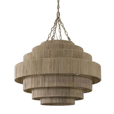 Lovina Pendant. A tiered statement chandelier with a metal frame and finely woven natural abaca rope.