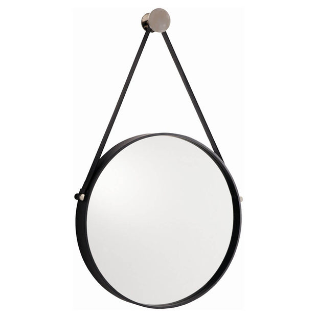 The Cartier Mirror is a circular mirror with a black iron frame that hangs from a black leather strap on a polished nickel knob.