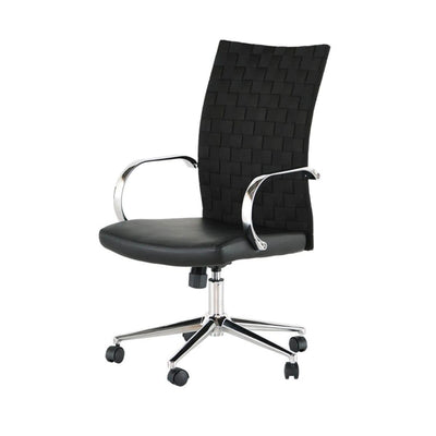 Office Chair with a high, faux leather back with woven detail, adjustable back and 360 degree rotating base.
