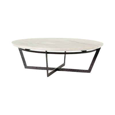 Round coffee table with dark, crossed leg frame and white marble top.