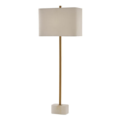The Milverton Table Lamp has a metal spike body and a alabaster base with a off-white linen shade.
