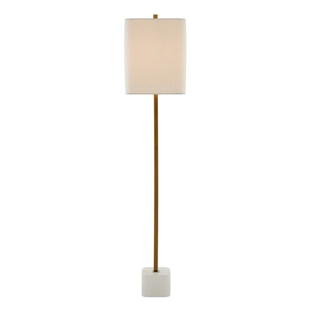 Side view of the minimalist Milverton Table Lamp with metal body and alabaster base.
