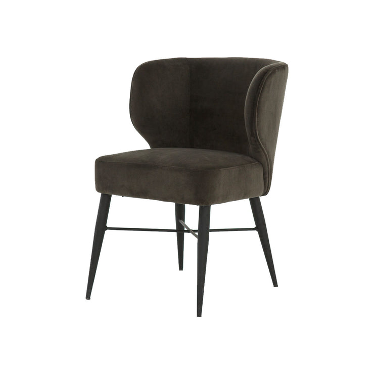 Modern dining chair with warm, dark grey suede wing chair styles back.