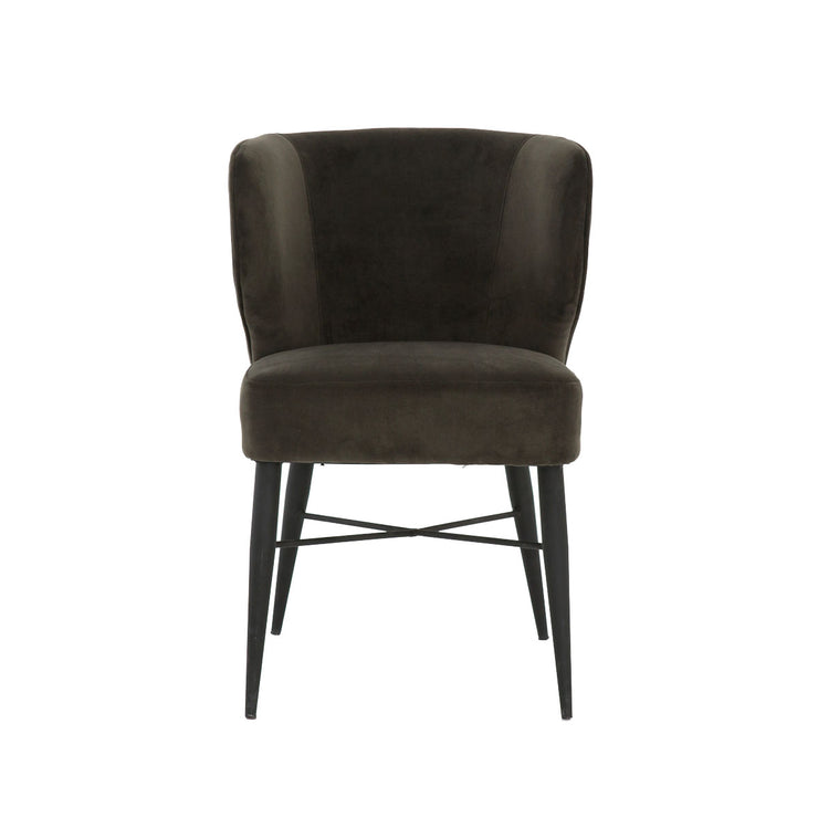 Front view of modern dining chair with black iron tapered legs and luxurious suede back.