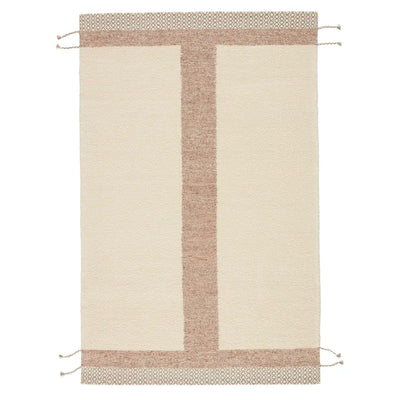 Handwoven, 100% wool rug that features a simple yet statement-making linear motif and braided tassel details.