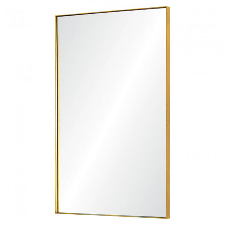 Modern full length mirror with a delicate gold frame.