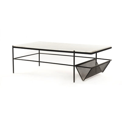Modern coffee table with black iron frame and marble top.