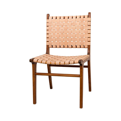 Dining Chair with a teak wood frame and woven naked leather seat and backrest.