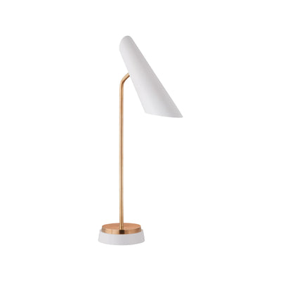 Pivoting task lamp with hand-rubbed antique brass and white shade.