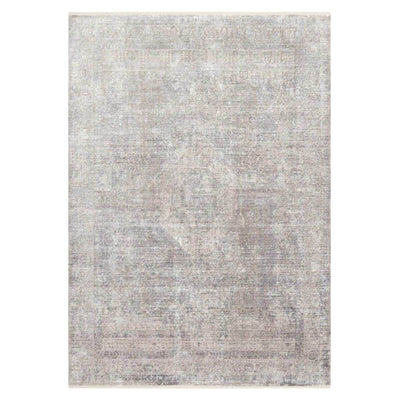 The Charlie Silver / Pebble Rug has a distressed, traditional pattern with a slight sheen and beautiful silver, grey and blue colour palette.
