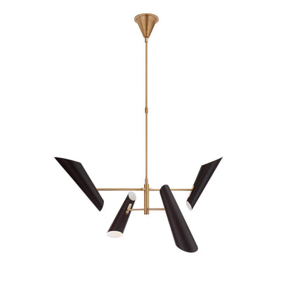 The Franca Pivoting Chandelier has an antique brass rod and four black, cone shaped shades.