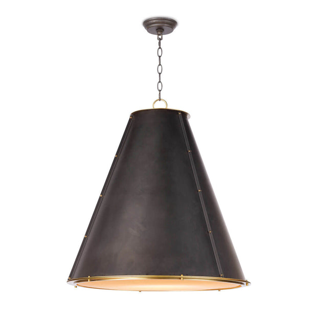 The Strasbourg Chandelier Large is made of black steel and has a cone shaped shade with brass stud details and a diffuser shade.