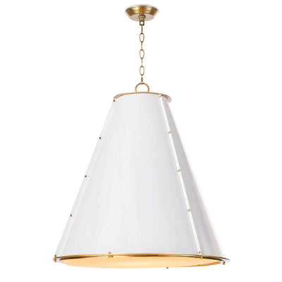 The Strasbourg Chandelier Large is made of white steel and has a cone shaped shade with brass stud details and a diffuser shade.