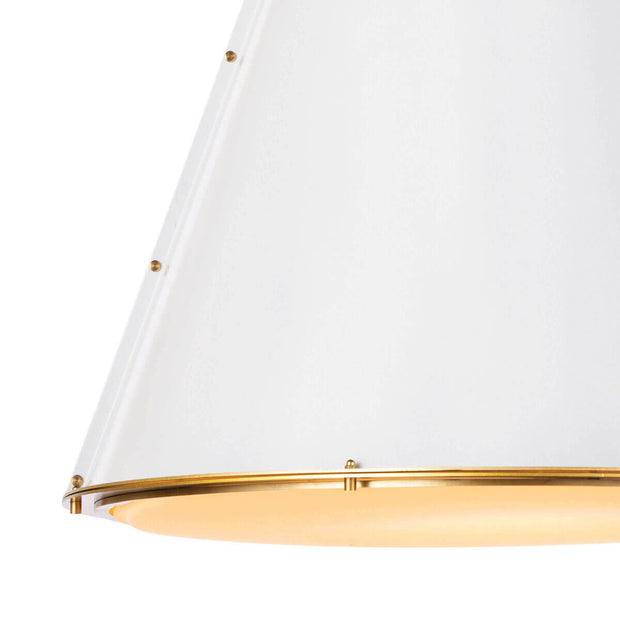 Close of the stud detail on the white steel cone shaped light with an industrial look.