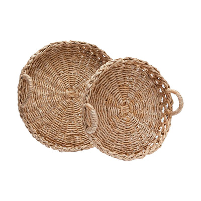 Decorative, texturally woven banana bark tray set of 2 in a bleached natural finish.