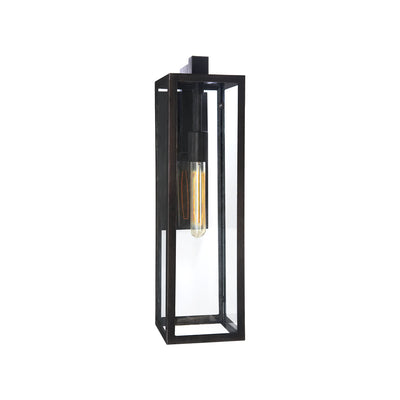 The Fresno Framed Long Wall Sconce has an aged iron rectangular frame with glass panels and a thin interior lightbulb.