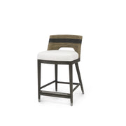 The Apia Counter Stool has a hardwood frame and legs in a grey pewter finish and hand-twisted lampakanai rope back seat with grey finish and black stripe detail.